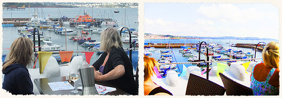 Drinks overlooking Paignton Harbour and Torbay